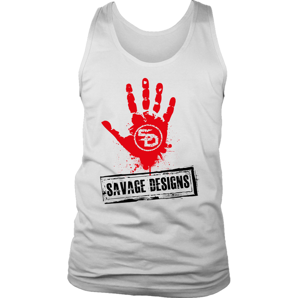 Savage Designs Handprint Stamp Red/Black Tank Top- 5 Colors