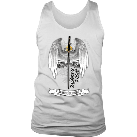 Savage Designs Sword and Angel Wings Tank Top- 1 Color