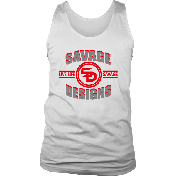 Savage Designs Dead Focus Grey/Red Tank Top- 8 Colors
