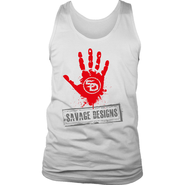Savage Designs Handprint Stamp Red/Grey Tank Top- 8 Colors