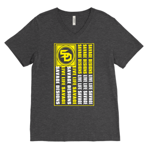 Savage Designs Flag Yellow/White V-Neck- 13 Colors
