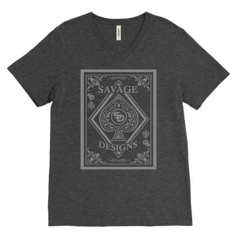 Savage Designs Ace of Spade Grey V-Neck- 10 Colors