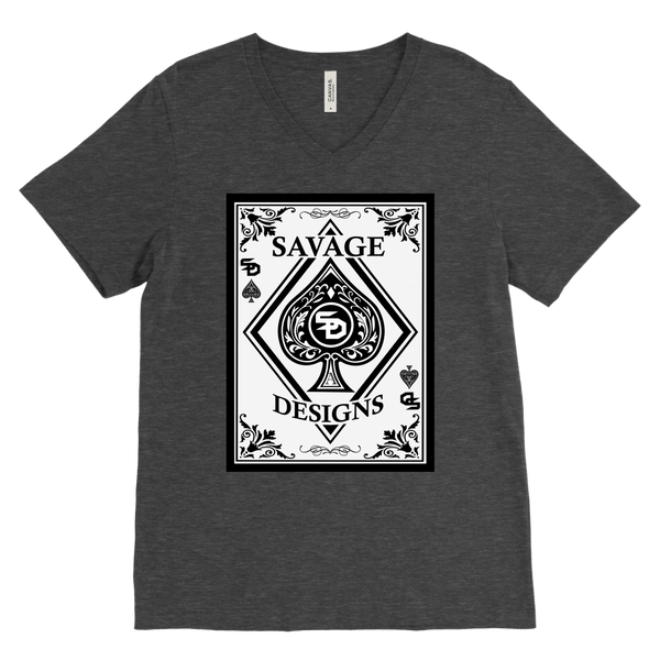 Savage Designs Ace of Spade White/Black V-Neck- 11 Colors