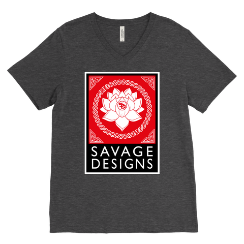 Savage Designs Lotus Flower Red/White/Black V-Neck- 10 Colors