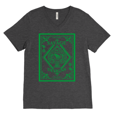 Savage Designs Ace of Spade Green V-Neck- 9 Colors