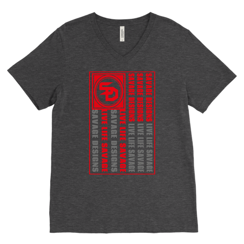 Savage Designs Flag Red/Grey V-Neck- 8 Colors
