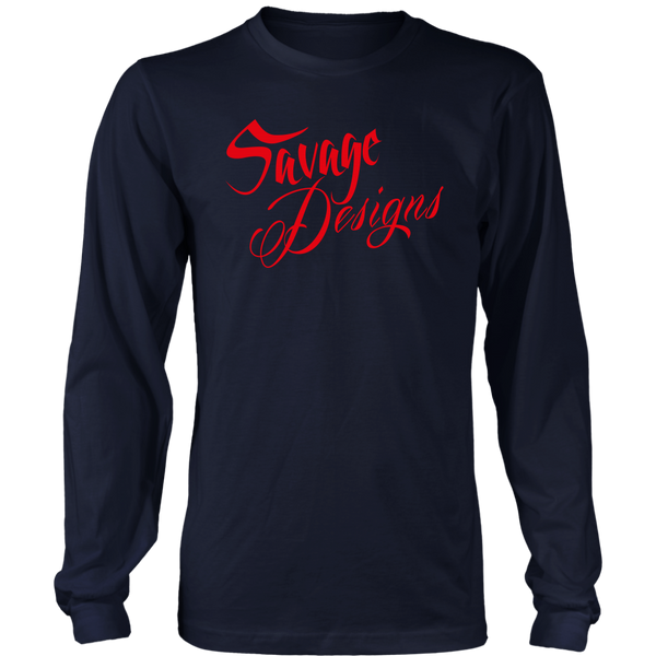 Savage Designs Cursive Script Red Long Sleeve- 10 Colors