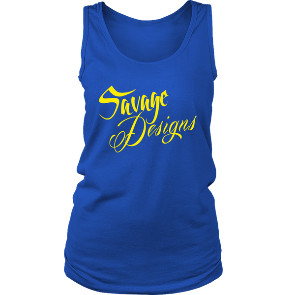 Savage Designs Cursive Script Yellow Tank Top- 11 Colors