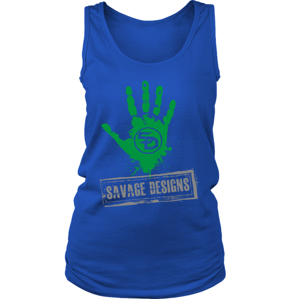Savage Designs Handprint Stamp Green/Grey Tank Top- 8 Colors