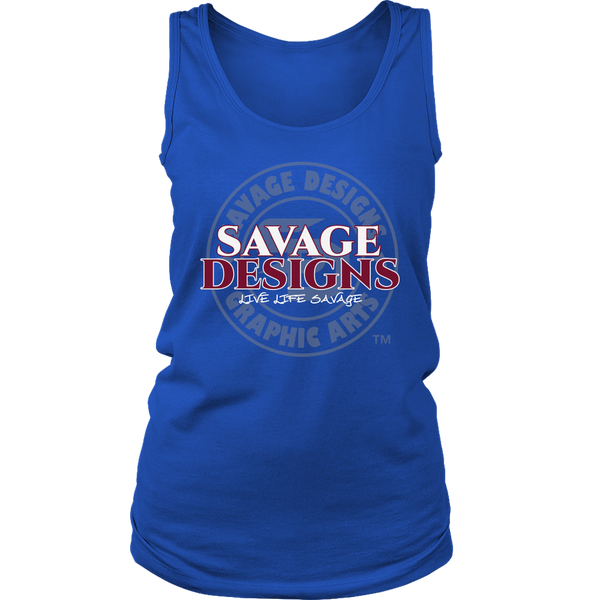 Savage Designs Faded Symbol White/Maroon/Grey Tank Top- 7 Colors
