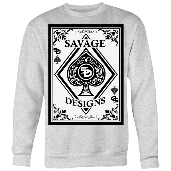 Savage Designs Ace of Spade White/Black Sweatshirt- 9 Colors