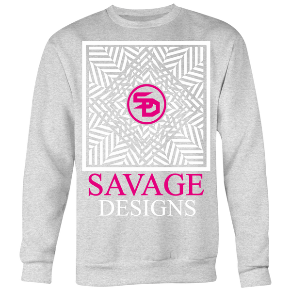 Savage Designs Optical Illusion White/Hot Pink Sweatshirt- 6 Colors
