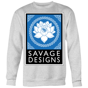 Savage Designs Lotus Flower Turquoise/White/Black Sweatshirt- 6 Colors