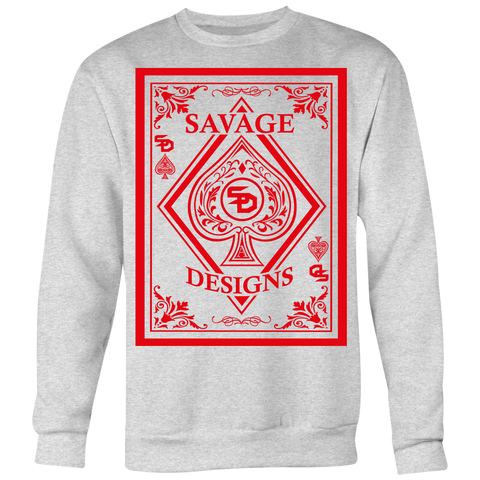 Savage Designs Ace of Spade Red Sweatshirt- 5 Colors