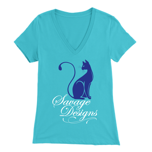 Savage Designs Lady Kitten Royal Blue/White V-Neck- 6 Colors