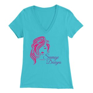 Savage Designs Women's Beauty Hot Pink/Purple V-Neck- 5 Colors