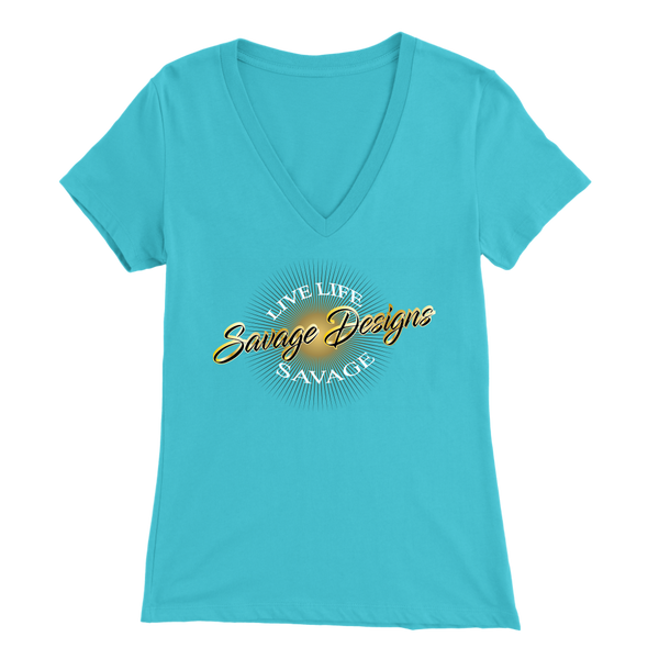 Savage Designs Sunray Flare Black and Gold V-Neck- 16 Colors