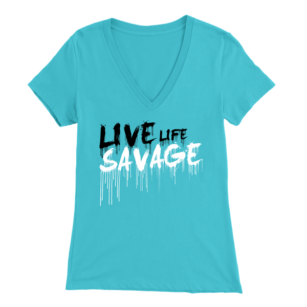 Live Life Savage Paint Drip Black/White V-Neck- 12 Colors