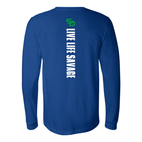 Savage Designs Original Symbol/Live Life Savage Front and Back Print Long Sleeve- 8 Colors