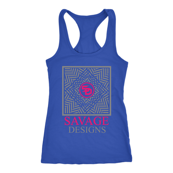 Savage Designs Optical Illusion Grey/Hot Pink Tank Top- 8 Colors