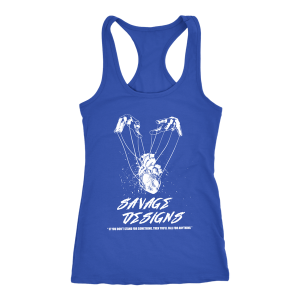 Savage Designs Heart Strings White Tank Top- 12 Colors