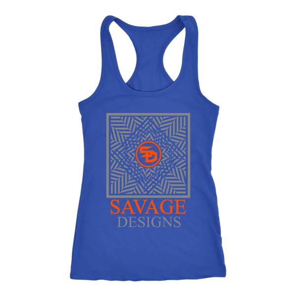 Savage Designs Optical Illusion Grey/Orange Tank Top- 9 Colors