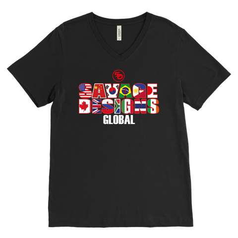 Savage Designs Global V-Neck Text Only