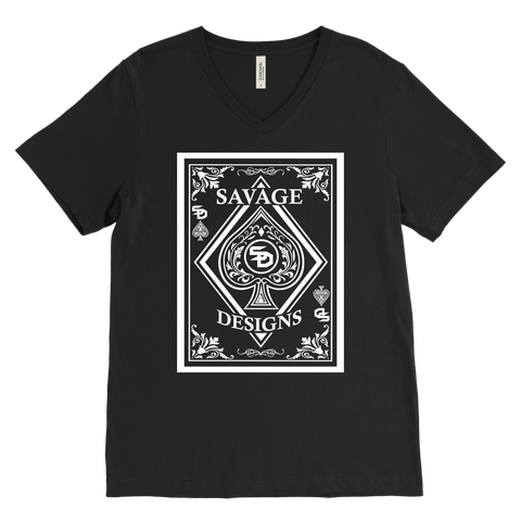 Savage Designs Ace of Spade White V-Neck- 13 Colors