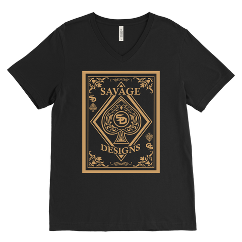 Savage Designs Ace of Spade Tan V-Neck- 9 Colors