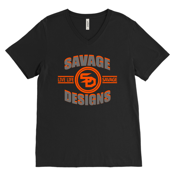 Savage Designs Dead Focus Grey/Orange V-Neck- 8 Colors
