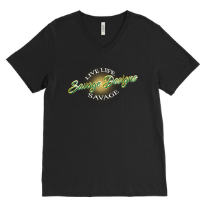 Savage Designs Sunray Flare Green and Gold V-Neck- 16 Colors
