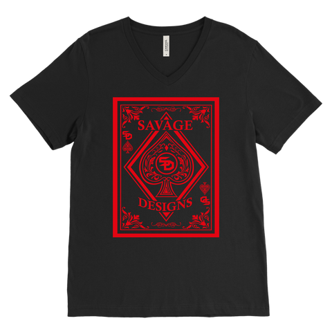 Savage Designs Ace of Spade Red V-Neck- 6 Colors