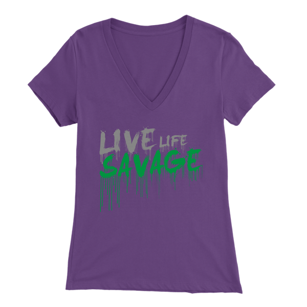 Live Life Savage Paint Drip Grey/Green V-Neck- 9 Colors