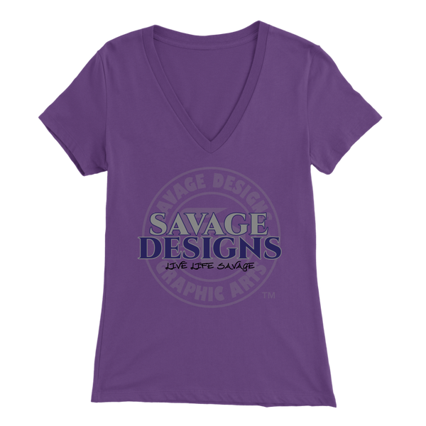 Savage Designs Faded Symbol Grey/Navy/Black V-Neck- 8 Colors