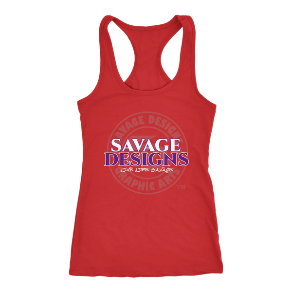 Savage Designs Faded Symbol White/Purple/Grey Tank Top- 8 Colors