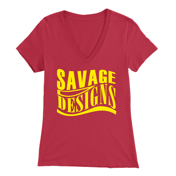Savage Designs Warped Curve Yellow V-Neck- 12 Colors