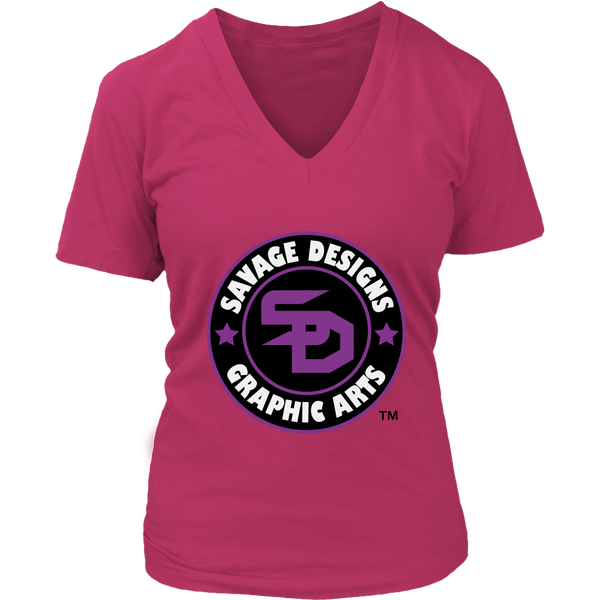 Savage Designs Symbol Patch Purple/Black/White V-Neck- 11 Colors