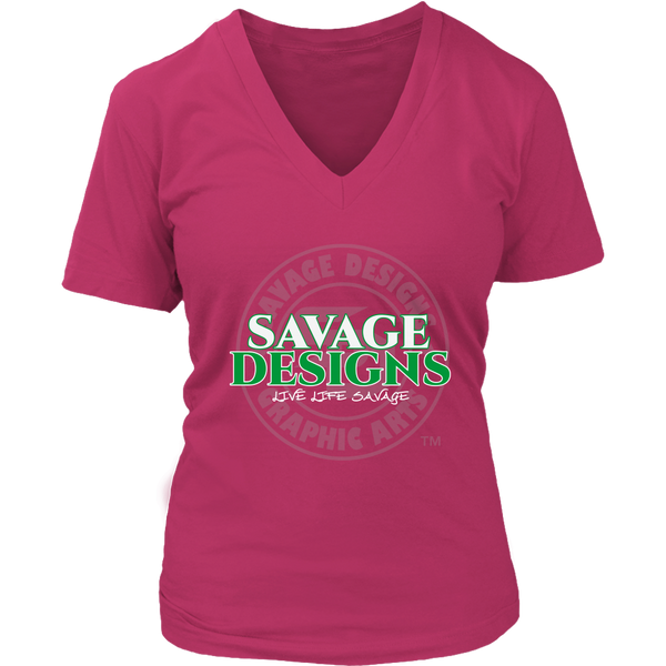 Savage Designs Faded Symbol White/Green/Grey V-Neck- 10 Colors