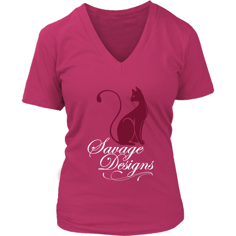 Savage Designs Lady Kitten Maroon/White V-Neck- 6 Colors