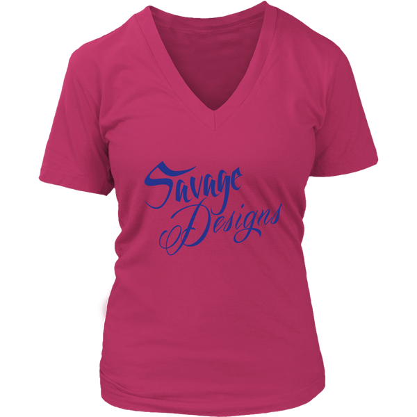 Savage Designs Cursive Script Royal Blue V-Neck- 7 Colors