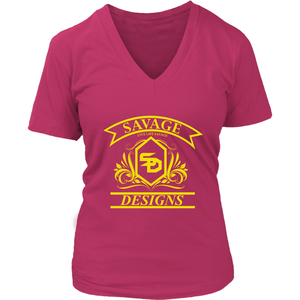 Savage Designs Diamond Floral Yellow V-Neck- 12 Colors