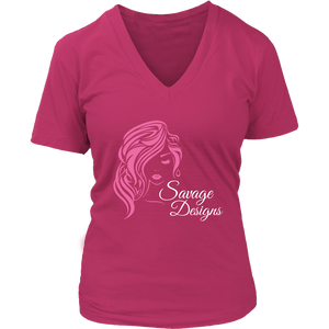Savage Designs Women's Beauty Pink/White V-Neck- 8 Colors