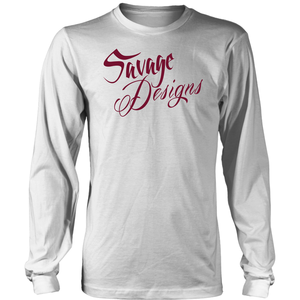 Savage Designs Cursive Script Maroon Long Sleeve- 7 Colors