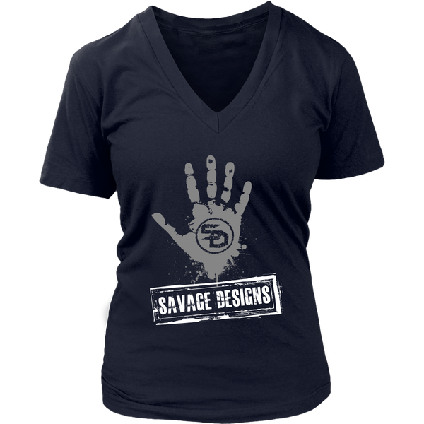 Savage Designs Handprint Stamp Grey/White V-Neck- 9 Colors