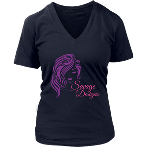 Savage Designs Women's Beauty Purple/Pink V-Neck- 5 Colors