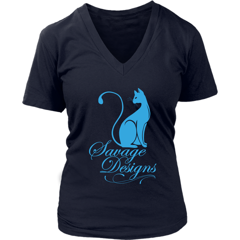 Savage Designs Lady Kitten Turquoise V-Neck- 9 Colors