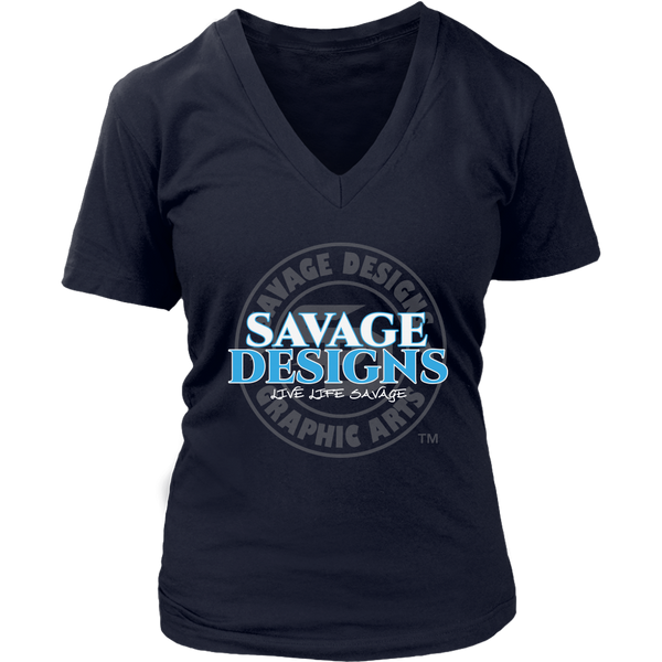 Savage Designs Faded Symbol White/Turquoise/Grey V-Neck- 10 Colors