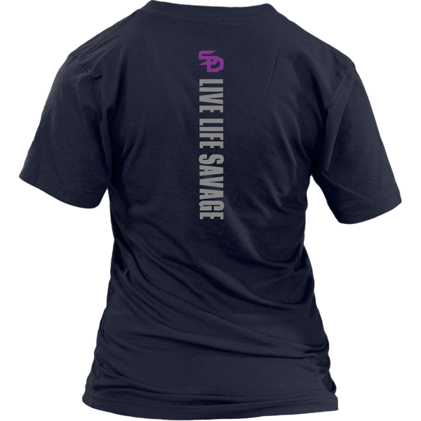 Savage Designs Original Symbol/Live Life Savage Front and Back Print V-Neck- 3 Colors