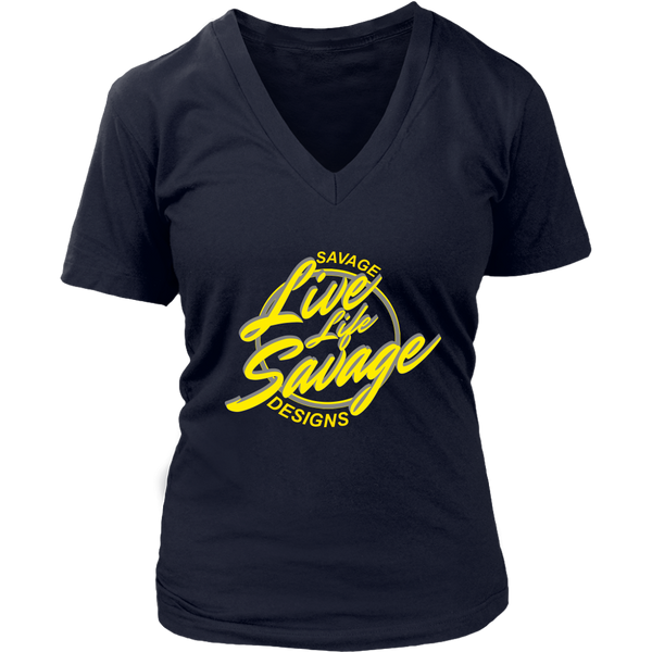 Savage Designs Live Life Savage Calligraphy Yellow/Grey V-Neck - 9 Colors