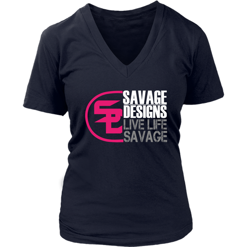 Savage Designs Sliced Up Hot Pink/White/Grey V-Neck- 6 Colors
